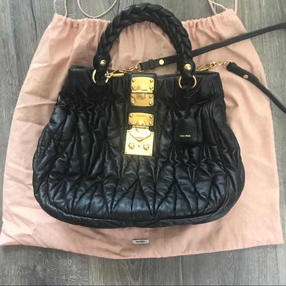 Miu Miu Bags   Black Leather Bag   Poshmark 8ee6a25b8c